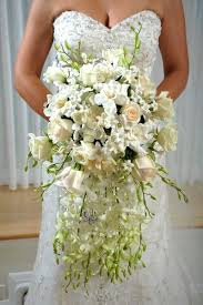 formal hollywood glam white bouquet gardenia orchid rose spring
