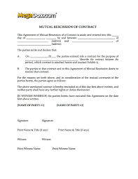 mutual rescission of contract form legal forms and business