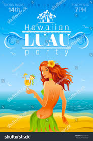vector illustration party invitation design hawaiian stock vector