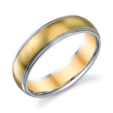 Mens Wedding Ring 2 by Lovely Christian Bauer 14 Karat Two Tone Wedding Ring Band