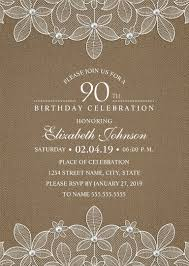 Invitation Party Card Country Burlap 90th Birthday Invitations Lace And Pearls Party