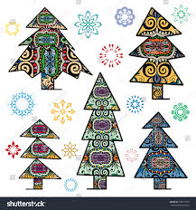 set decorative christmas trees snowflakes ornaments stock vector