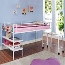 twin metal loft bed with desk and shelving twin loft bed with desk and shelves in white btld46spwh