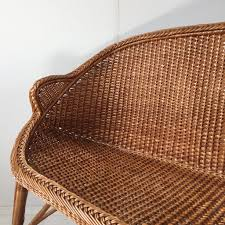 canap rotin vintage rattan wicker settee sofa 2 seater banquette canapé rotin