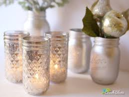 Home Decor Candles 3 Quilted Mercury Glass Faux Finish Mason Jar Candle Holders