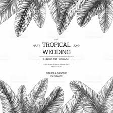 tropical palm leaves wedding invitation template vector