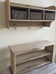 furniture rustic coat rack hall tree bench with two tier shoe