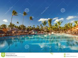 beautiful swimming pool in tropical resort punta cana stock photo