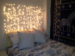 bedroom with christmas lights