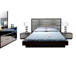 modern black bedroom mena with mirrored headboard contemporary