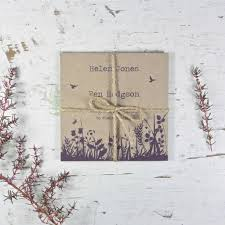 recycled wildflower tri folded wedding invitation by paper and inc