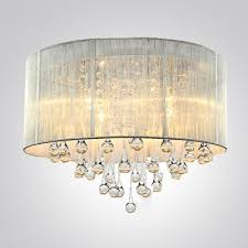 flush mount drum light silver drum shade and rich crystal rainfall flush mount chandelier