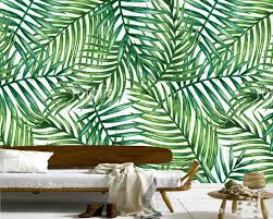 custom wall leaf wallpaper watercolor tropical palm leaves fresco