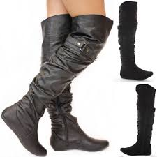 s boots flat black flat winter walking style heel knee thigh high
