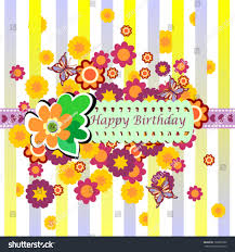 Birthday Card With Bars Happy Birthday Greeting Card Striped Yellow Stock Vector 102893900