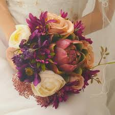real touch artificial bridal wedding bouquet purple galsang