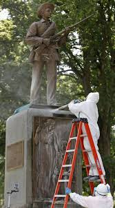 Black Flag Statue Puzzle Graffiti Painted On Confederate Statue In Durham Blasted Off