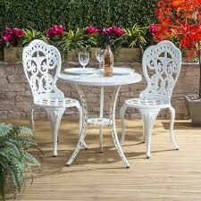 Aluminium Bistro Chairs Traditional Cast Aluminium Bistro Set In White Alfresia