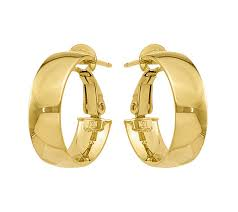 gold hoop earings 14k gold polished hoop earrings page 1 qvc