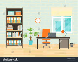 Site Table by Home Office Workplace Table Bookcase Window Stock Vector 447329287