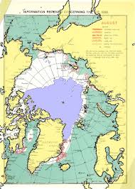 World Map Of Seas by Arctic Sea Ice In The 1940s
