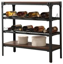 walnut wood wine rack stand console buffet display with storage