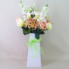 Roses And Lilies Lilies And Roses Silk Flowers Hand Tied Bouquet Abv013