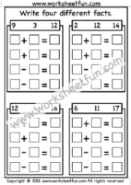 number fact families fact family write four different facts 6 worksheets