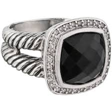 black silver rings images David yurman albion black onyx diamond sterling silver cable ring jpg