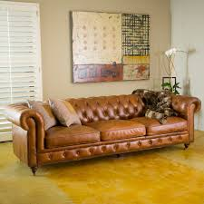 Chesterfield Tufted Leather Sofa by Furniture Interesting Tufted Sofa For Fancy Living Room Ideas