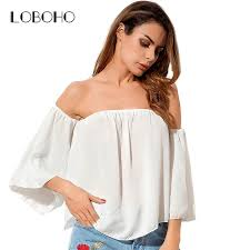 strapless blouse chiffon blouses fashion 2017 summer shoulder tops flare