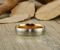 lord of the rings wedding band gold dome custom your words in elvish tengwar lord of the