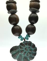 wood beads necklace images Chunky patina shell with wood beads necklace the lh bead gallery jpg