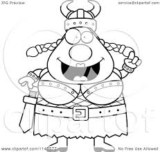 cartoon clipart of a black and white chubby female viking with an