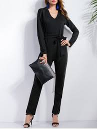 black jumpsuit sleeve black s sleeve bow belt jumpsuit rosegal com