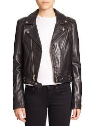 leather motorcycle coats blk dnm cropped leather motorcycle jacket in black save 65 lyst