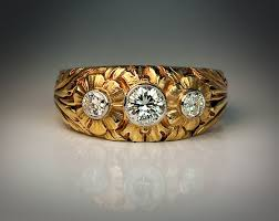 vintage rings designs images Art nouveau three stone diamond carved gold unisex ring antique jpg