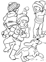 playing snow winter coloring pages kids winter coloring