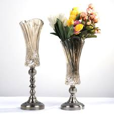 Ikebana Vases Table Centerpiece Decorative Metal Stand Tall Murano Glass Vase