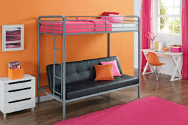 living room bunk bed with sofa and desk underneath loft bed and