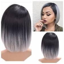 black women short grey hair 28cm women heat resistant short straight full wig ombre grey hair
