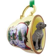 weimaraner teacup sleigh ornament figurine