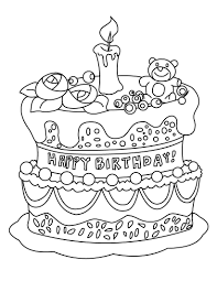 birthday cake coloring page chuckbutt com
