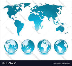 Simple Vector World Map by Globes And World Map Royalty Free Vector Image
