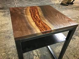 Goliath Table Custom Liquid Copper Walnut And Blued Steel Side Table By