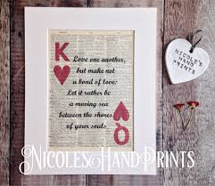 wedding quotes kahlil gibran print personalised gift card paper anniversary