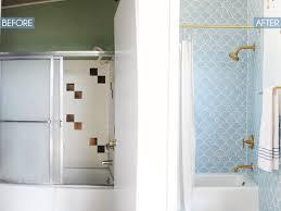 White And Blue Tiles In Bathroom Master Bathroom Reveal Emily Henderson