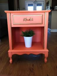 peach and gold nightstand end table 160 00 via etsy