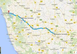 Distance Map Road Trip To Jog Falls Via Shimoga From Bangalore I Share
