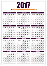 2017 calendar with pencil image and american holidays vector